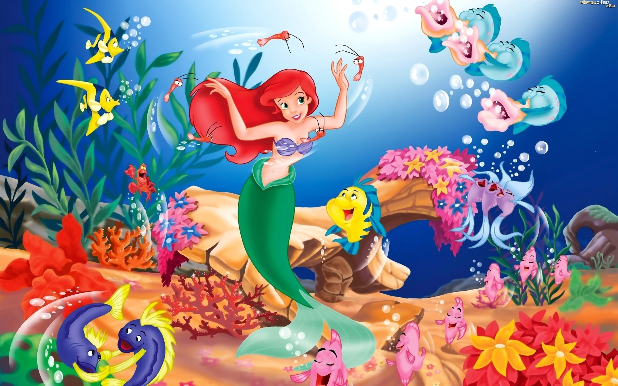 Mała Syrenka, The Little Mermaid, Ariel, Woda, Rybki